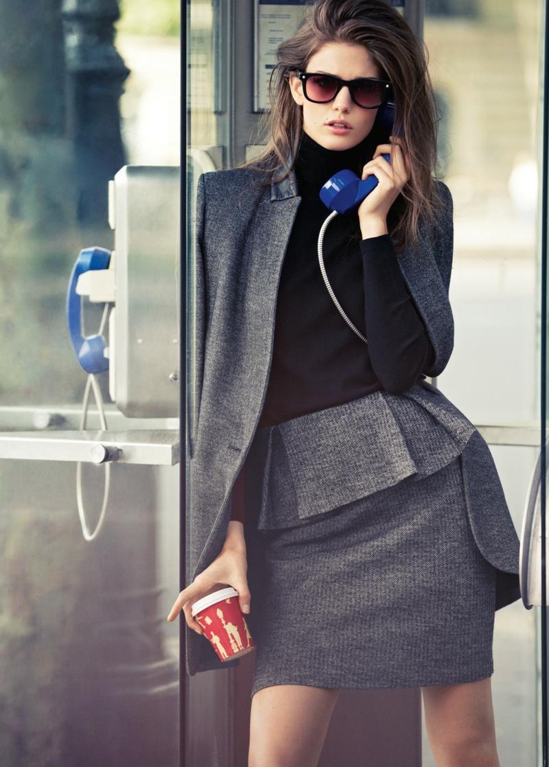 Business Look Frauen Peplum Rock Sakko Blazer