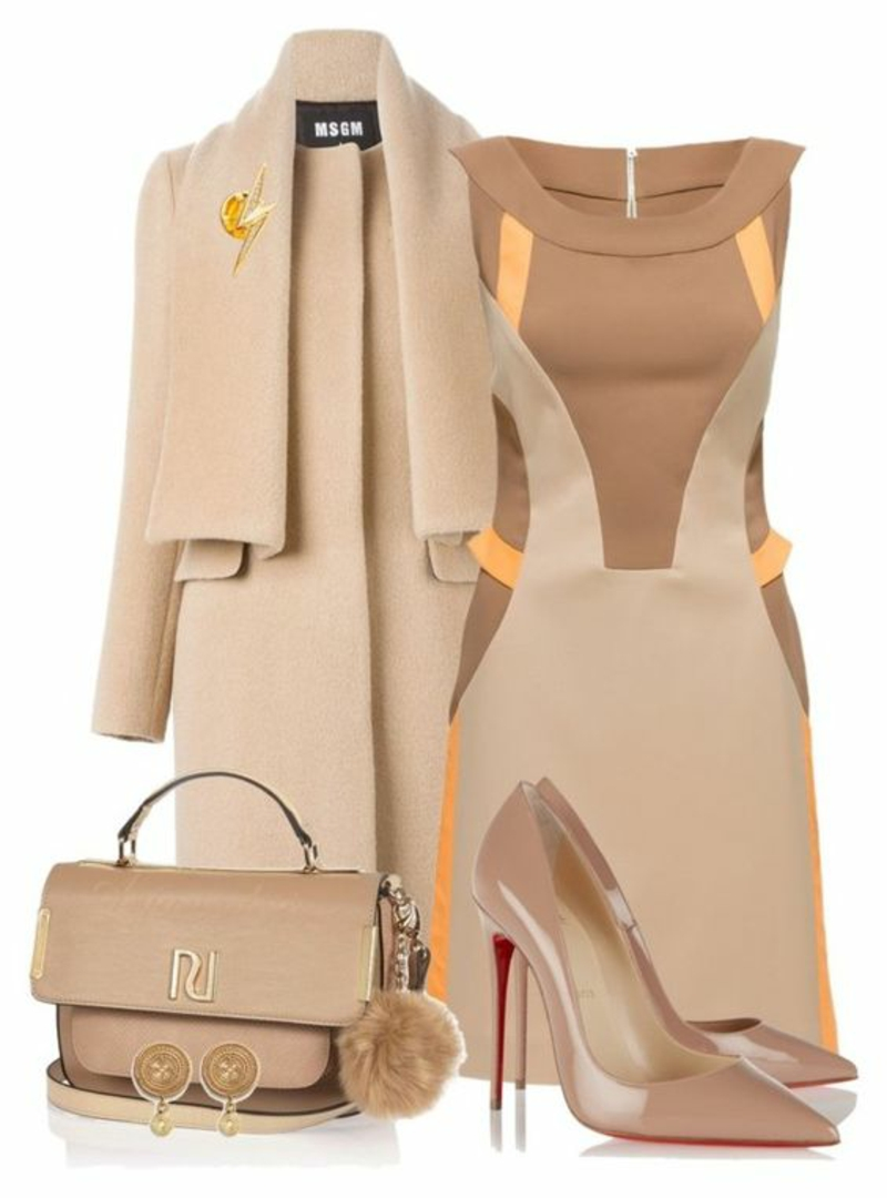 Business Look Frauen elegantes Business Outfit Beige
