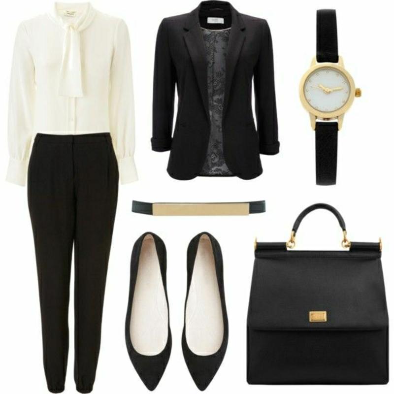 Business Mode Damen elegant schwarz weiß Business Outfit Frau