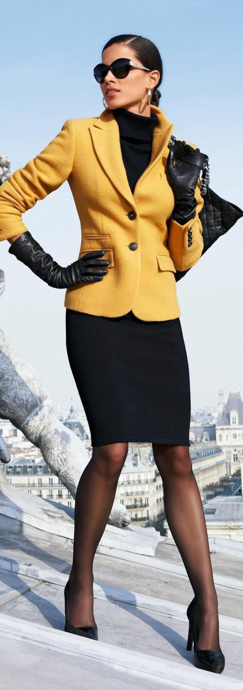 Bussinessmode Damen Sakko gelb Damenmode Bleistiftsrock