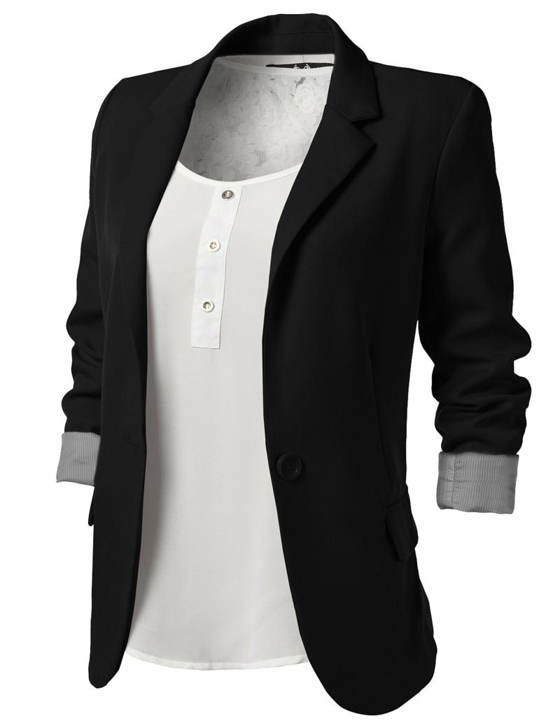 Damen H&M Sakko schwarz elegant sportlich mit weißem Top
