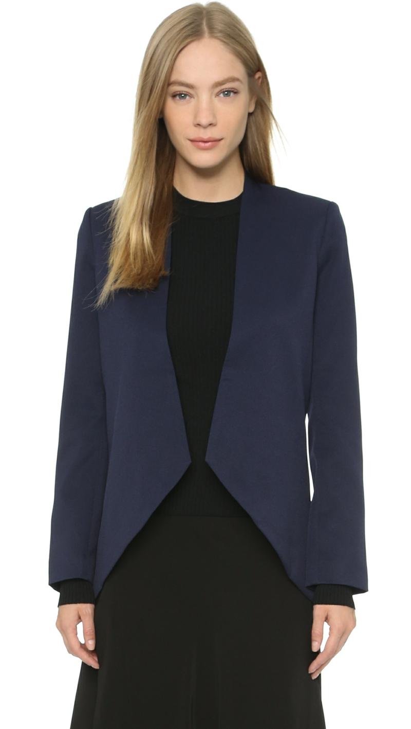 Damen Sakko Blau modern ohne Revers Damenmode