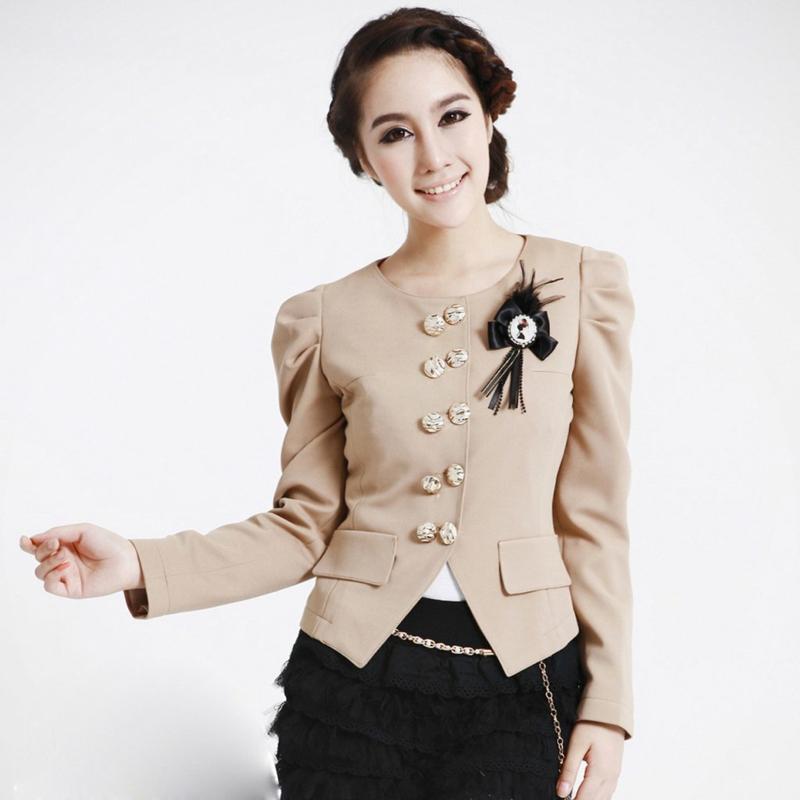 Damen Sakko beige elegant kurz tailliert Damenmode