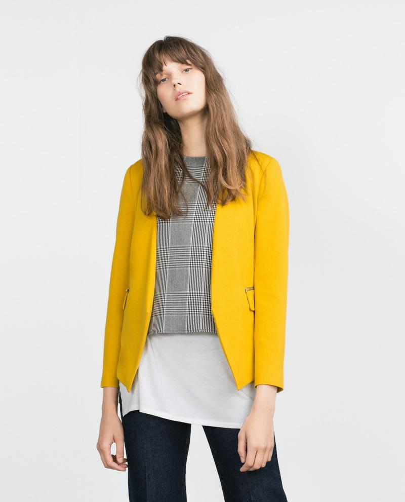 Damen Sakko gelb elegant kurz ohne Revers Damenmode