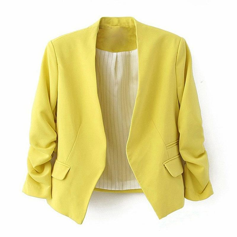 Damen Sakko gelb elegant kurz tailliert Damenmode