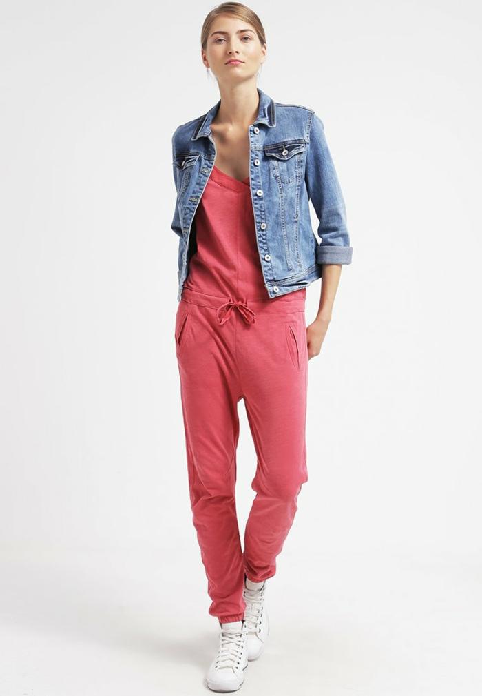 Damenhosen rot modetrends 2016 koralrot mit jeansjacke