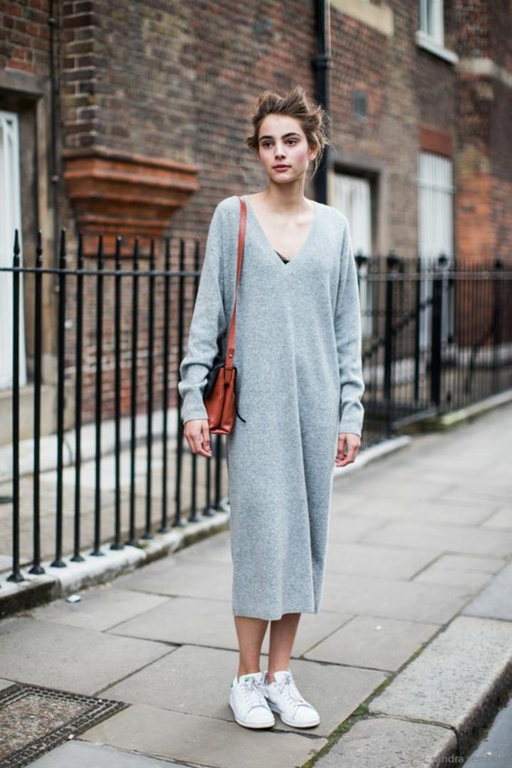 Damenpullover Longpullover Kleid hellgrau Streetstyle Mode