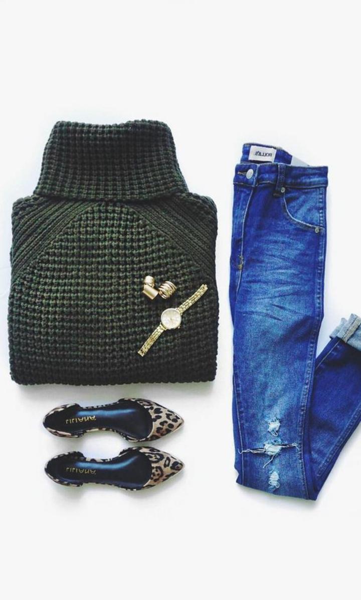 Damenpullover Mode aktuelle Trends 2016 Rollkragenpullover und Jeans