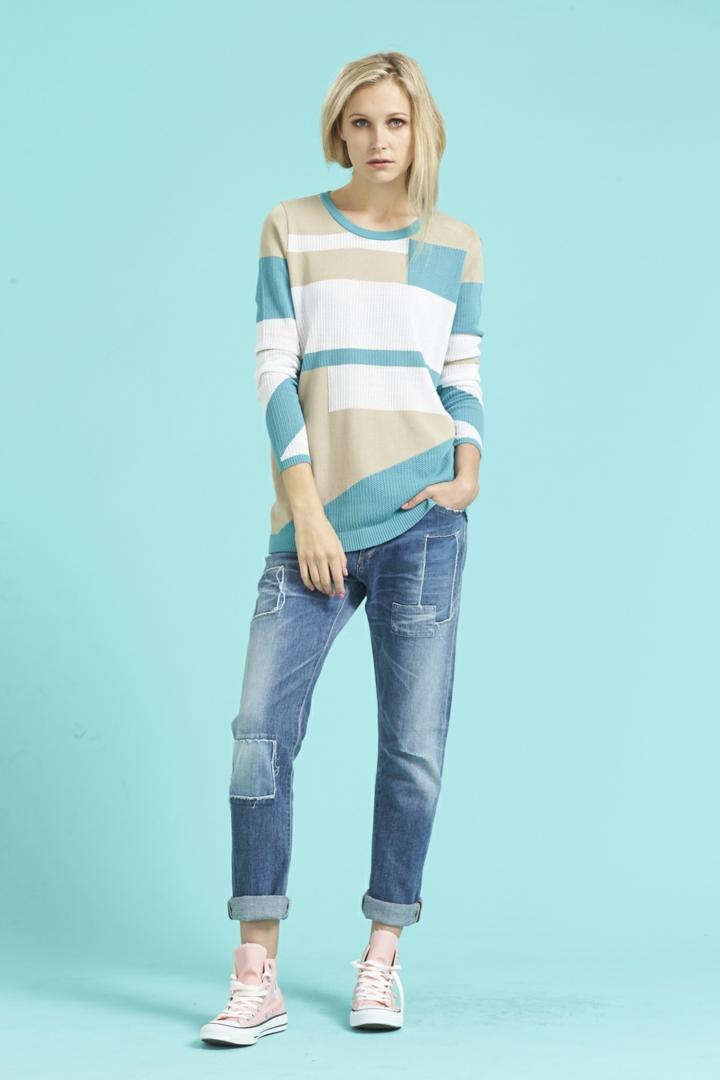 Damenpullover blau Trends 2016 casual Mode