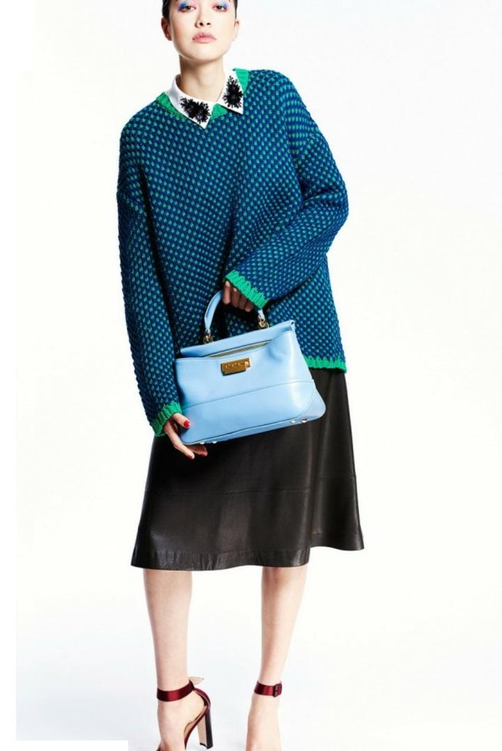Damenpullover blau grün Hamd casual Mode