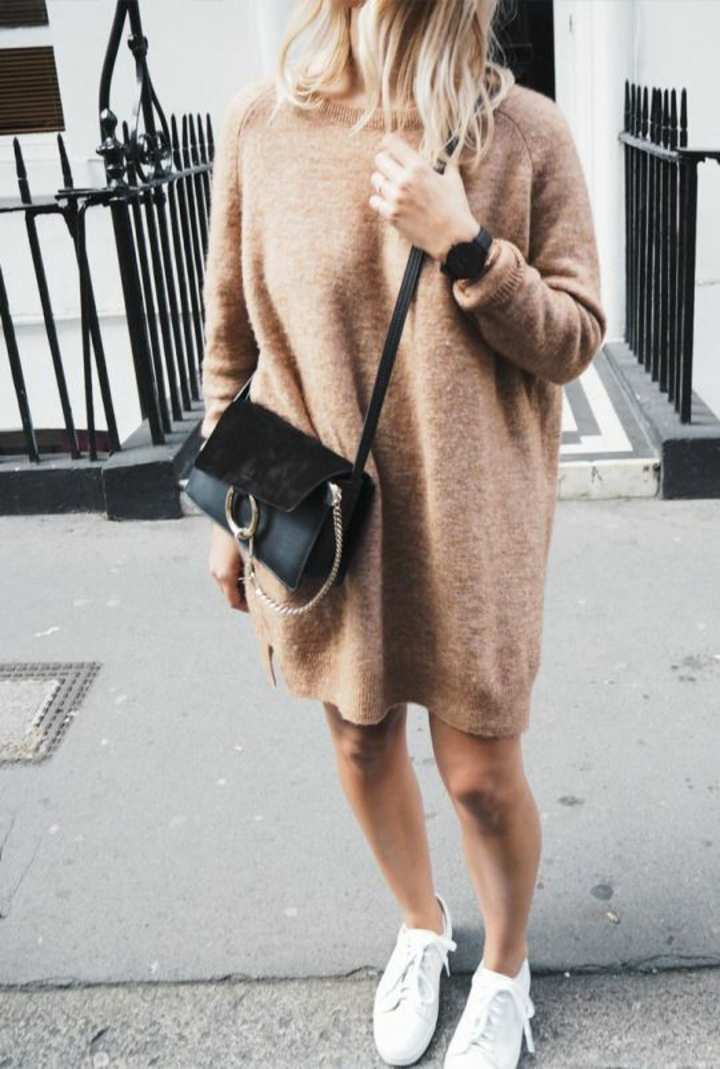 Damenpullover gestrickt Sweater Kleid braun Longpullover Damen