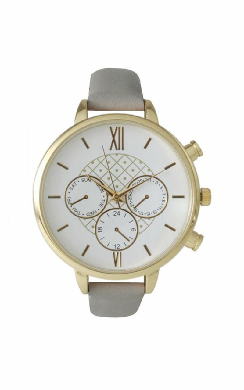 Damenuhr Design Leder Armbanduhr Damen grau
