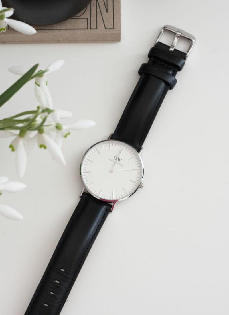 Damenuhren Leder Armbanduhr Damen schwarz