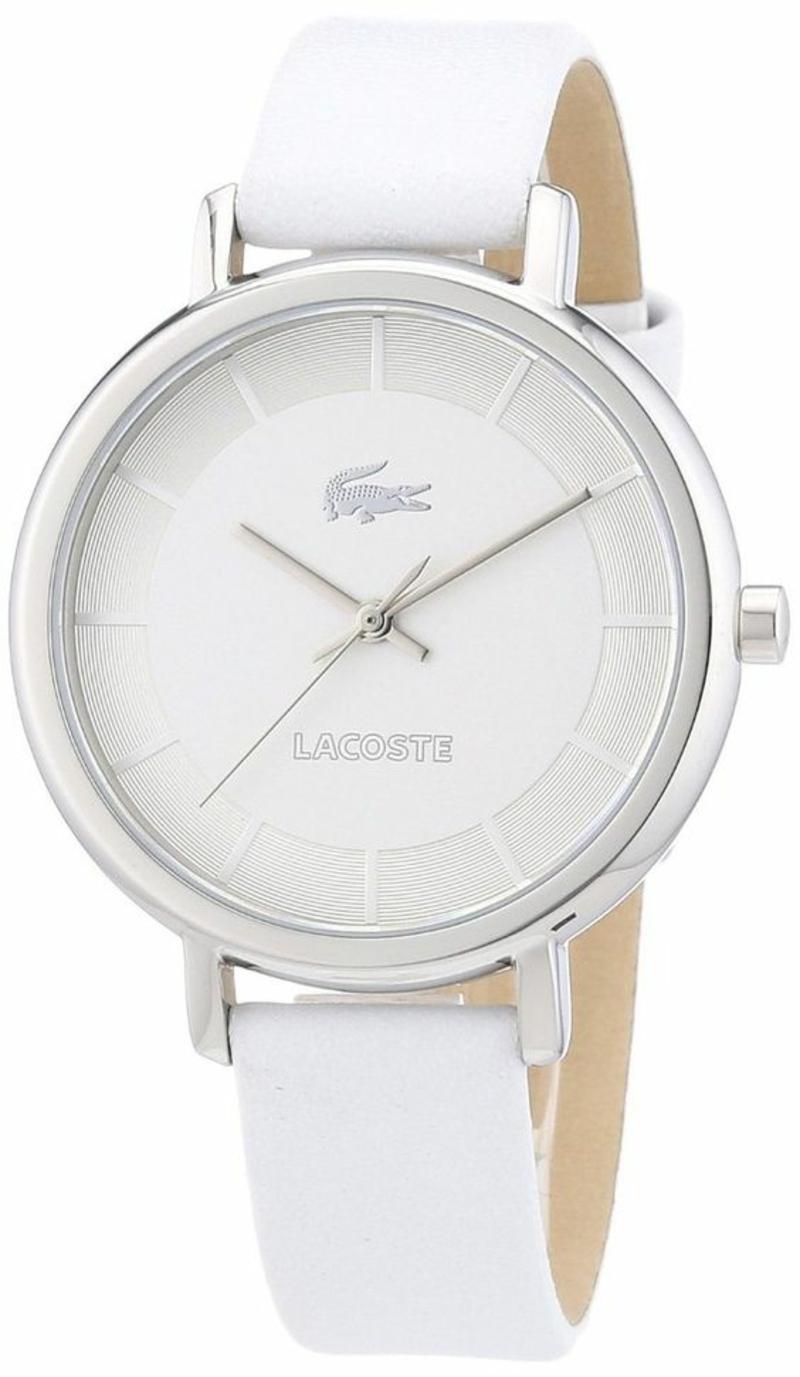 Designer Damenuhren Lacoste Leder Armbanduhr Damen weiß