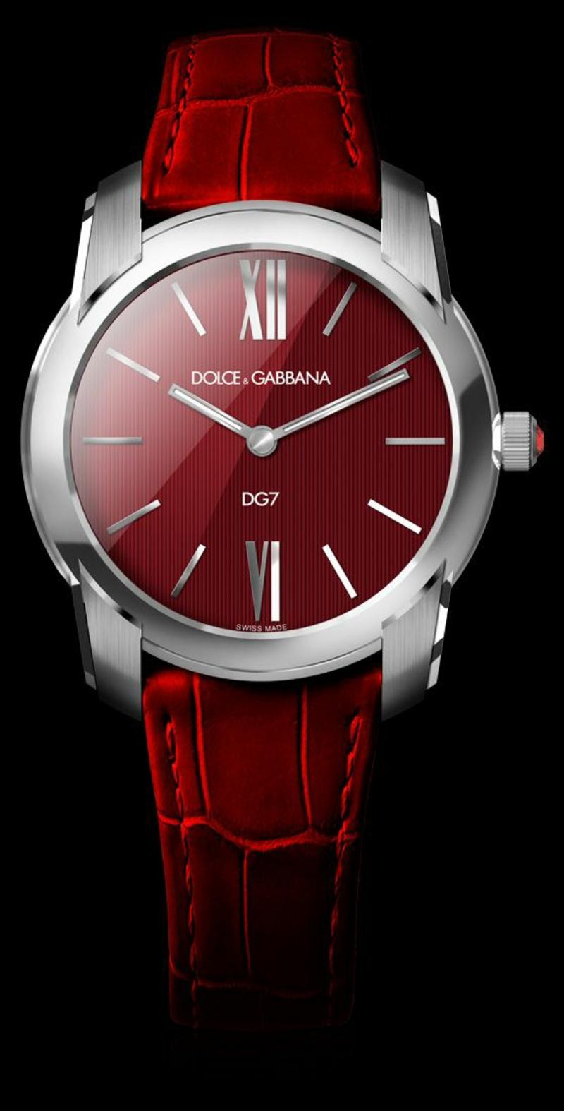 Dolce&Gabbana Damenuhren Design Leder Armbanduhr Damen rot