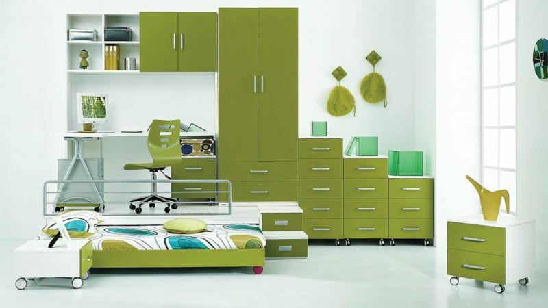 Einrichtungsideen Kinderzimmer Junge Kindermöbel grün weiß
