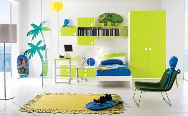 Einrichtungsideen-Kinderzimmer-Junge-Kindermöbel-neongrün