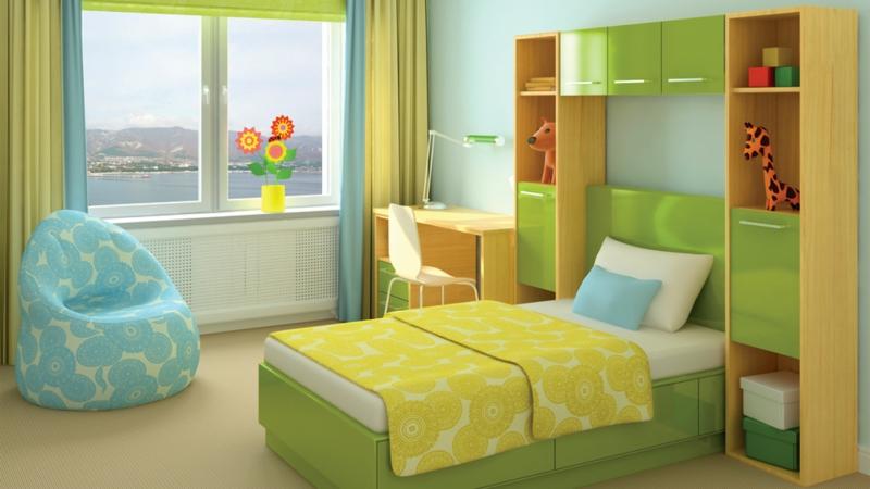 Einrichtungsideen Kinderzimmer Junge gelb grün