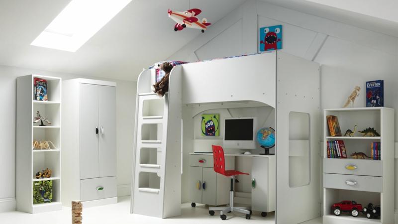 Einrichtungsideen Kinderzimmer Junge komplett weiß