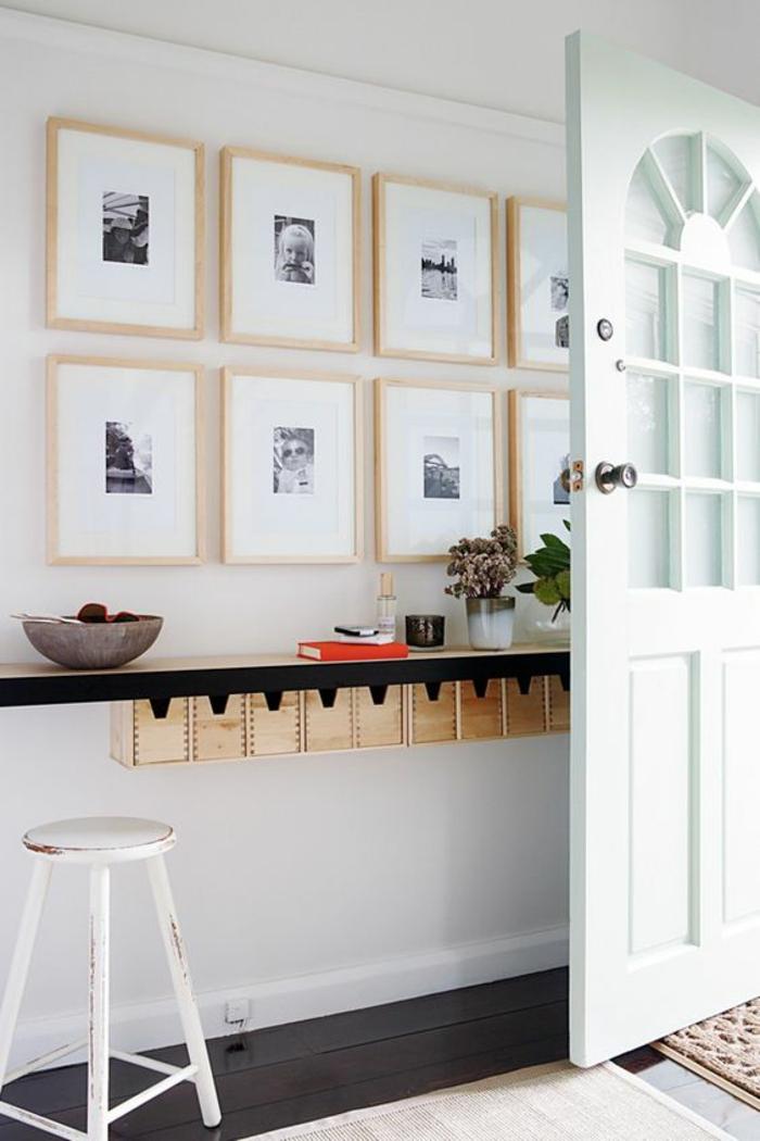Fotowand selber machen DIY Projekte im Flur Bilderrahmen Holz