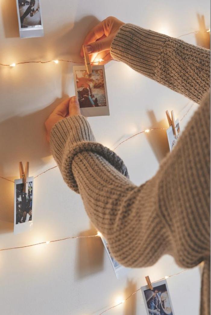 Fotowand selber machen DIY Projekte mit Wäscheklammern