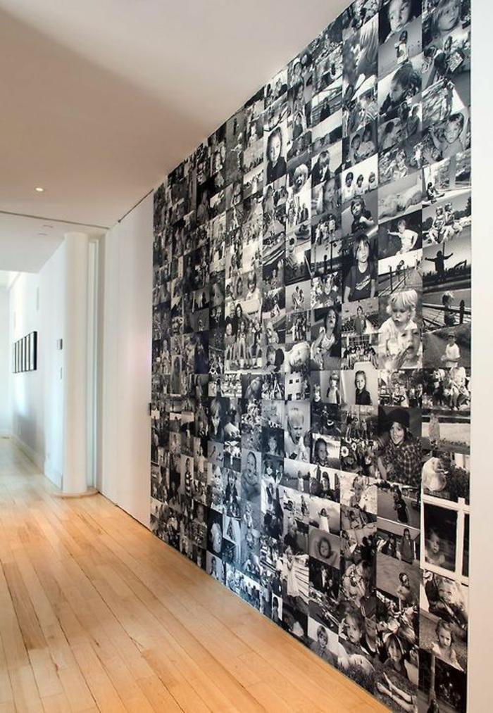 Fotowand selber machen DIY Projekte schwarz weiß Fotos
