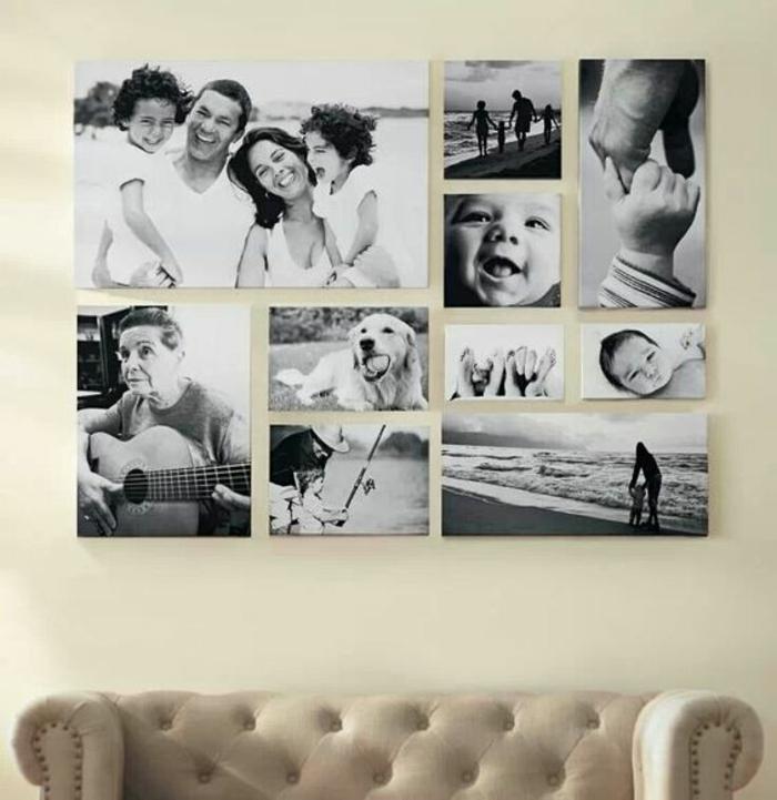 Fotowand selber machen Wandgestaltung mit schwarz weißen Bildern