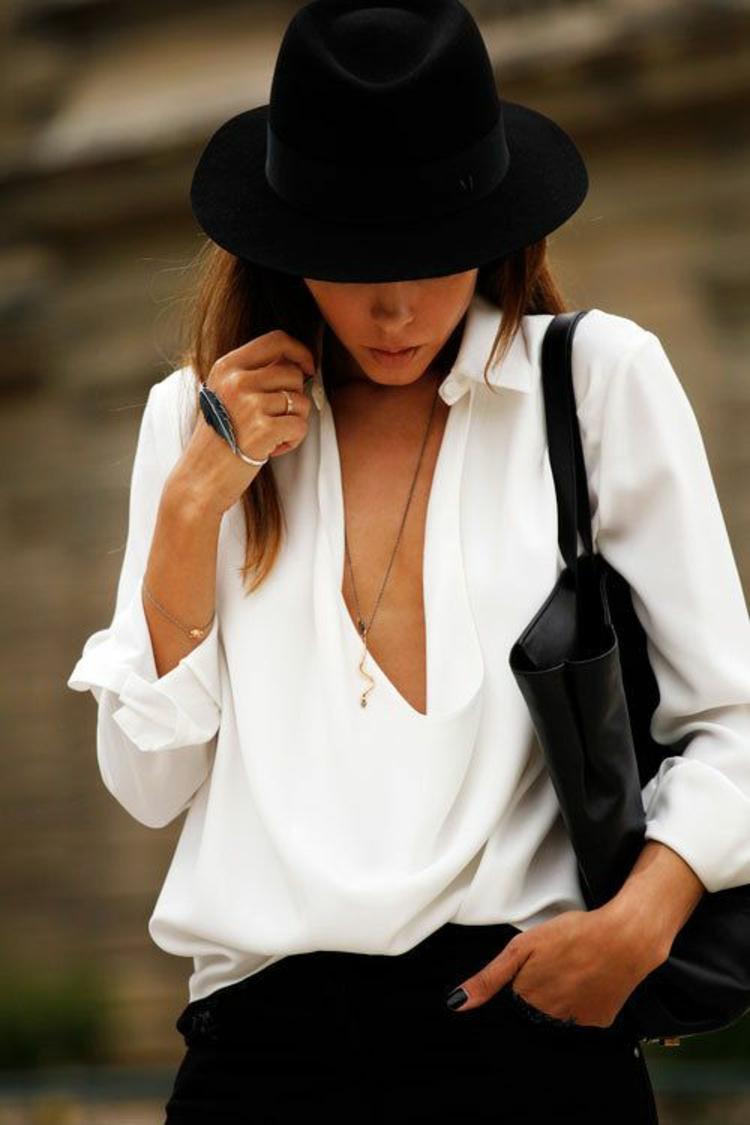 Hut Damen Filzhut weißer Hemd Damenmode und Stylingstipps