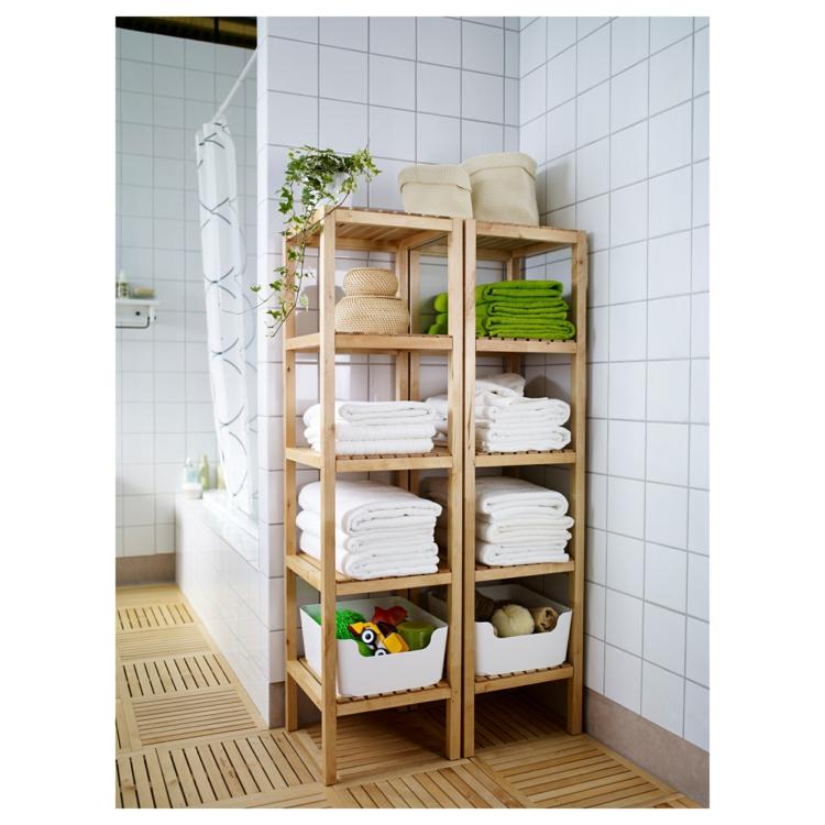 Ikea Regale Badezimmer Regale Holz Handtücher Stauraum praktische Ecke