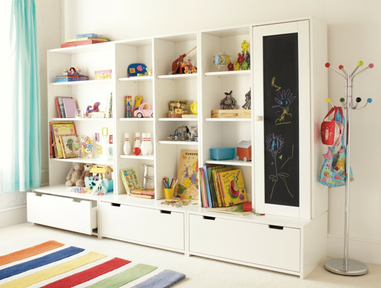 Kinderzimmer Einrichtungsideen Ikea ~ Einrichtungsideen  Kinderzimmer Wandregal in Weiß