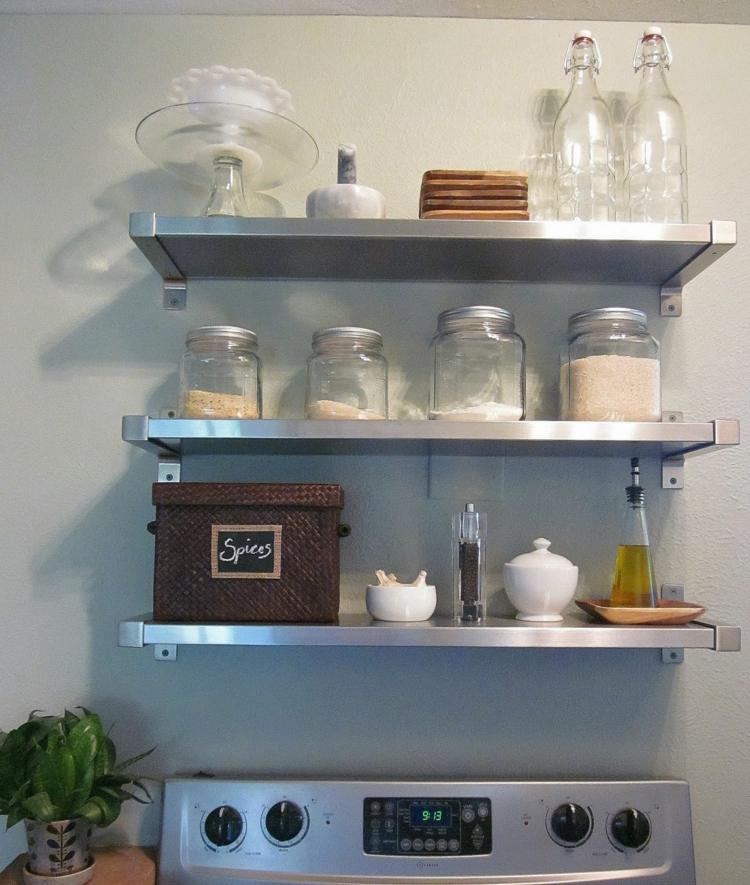 wohnzimmergestaltung ikea:Küchenregale aus Metall Stauraum praktische ...