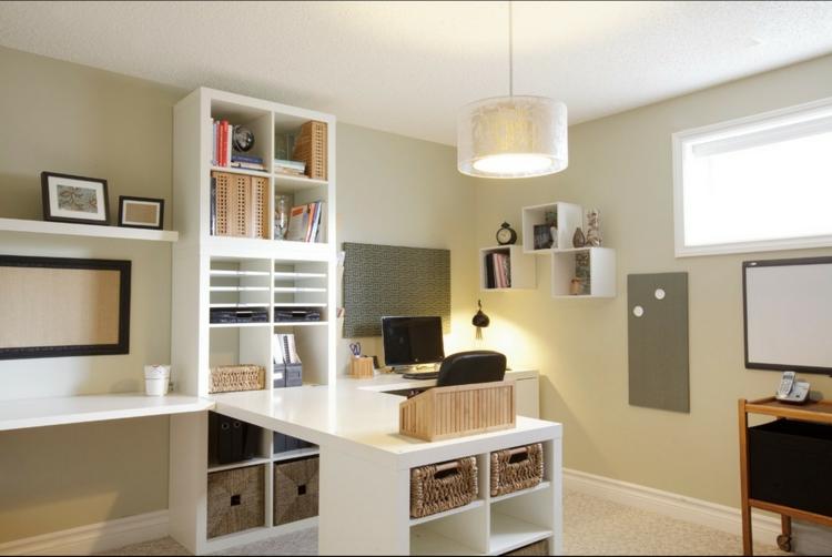 Ikea Regale Wandregal weiß Homeoffice gestalten Einrichtungsideen