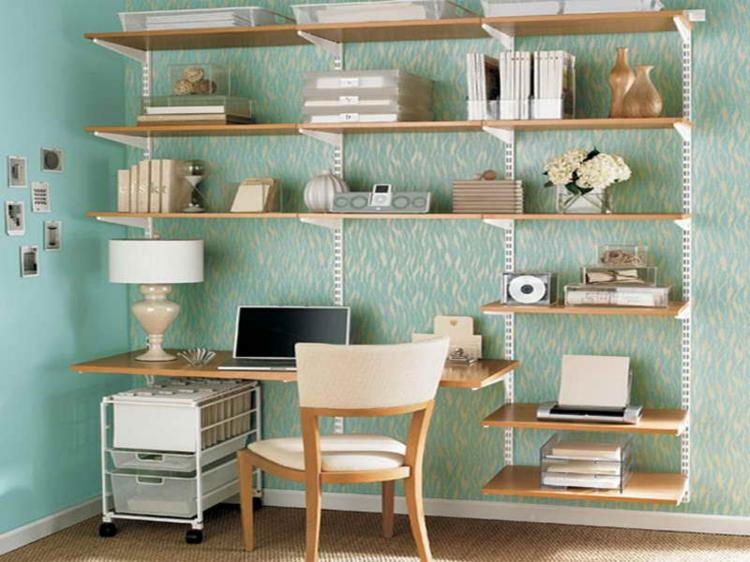 Ikea Regale häusliches Arbeitszimmer gestalten Stauraum Ideen