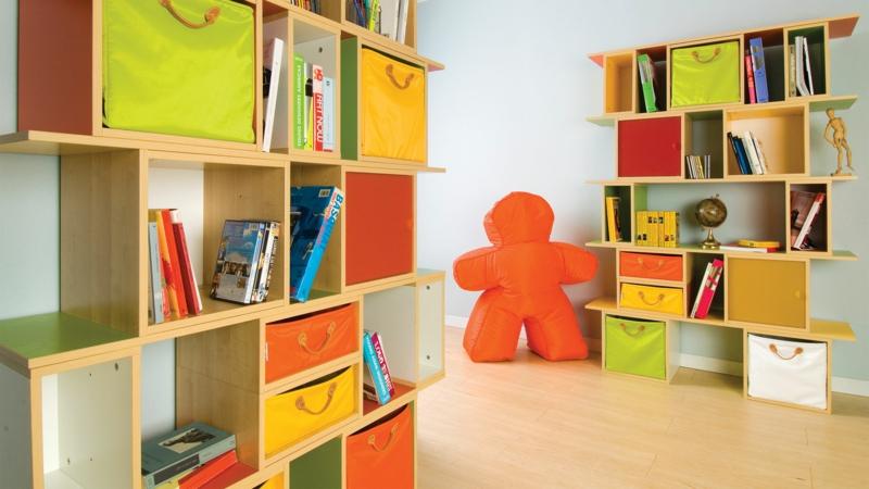 Jugendzimmer Ideen Jugendzimmermöbel Stauraum Wandregale aus Holz