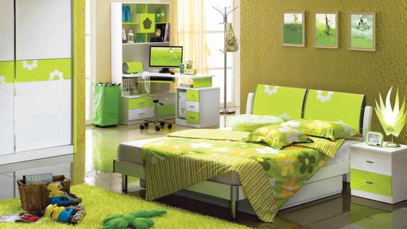 Jugendzimmer Ideen Jugendzimmermöbel grün Kinderbettwäsche