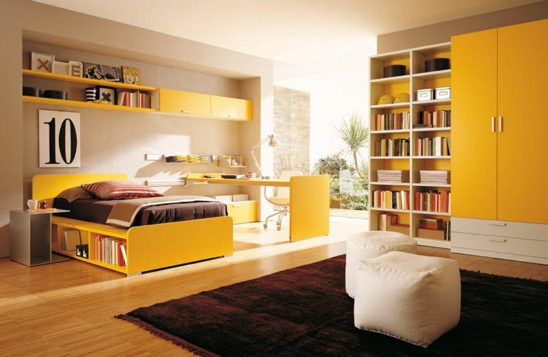Jugendzimmer Ideen Jugendzimmermöbel in frischem Gelb