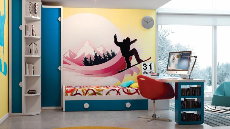 Jugendzimmer Ideen Jugendzimmermöbel kreative Wandgestaltung Jungen