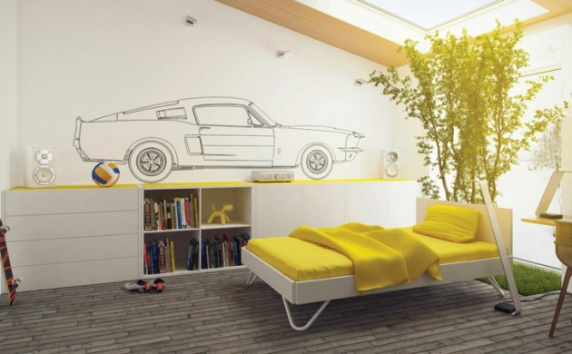 Jungen-Jugendzimmer-Ideen-Jugendzimmermöbel-Wandgestaltung-Auto