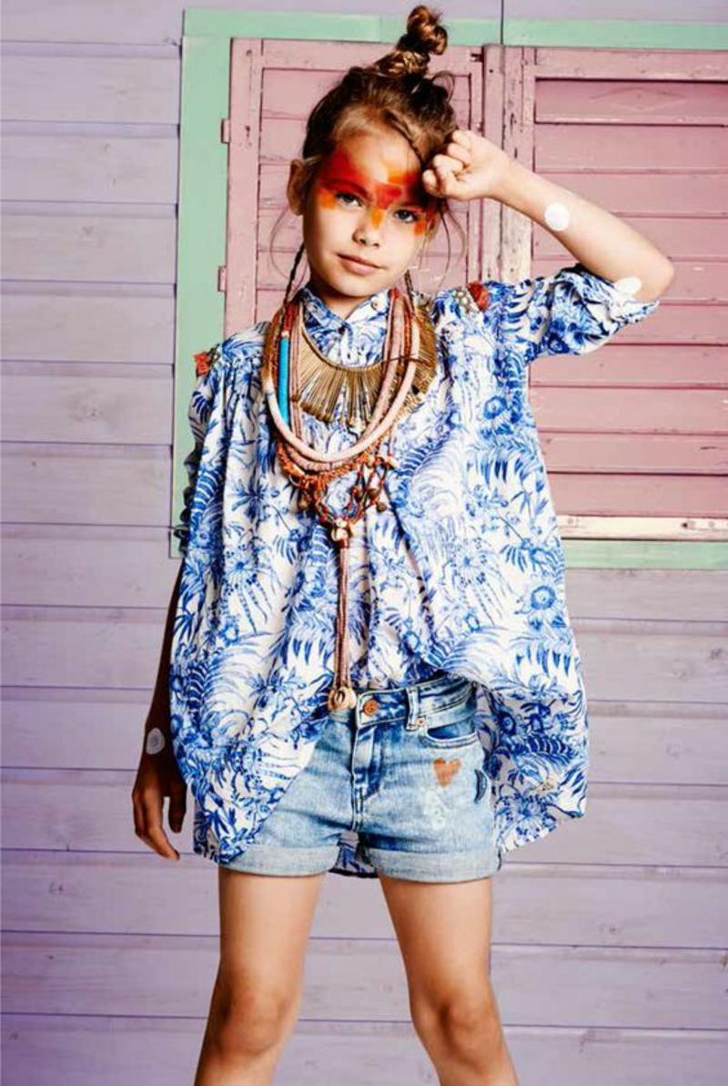 Kindermode Trends 2016 Summeroutfits kurze Jeanshose