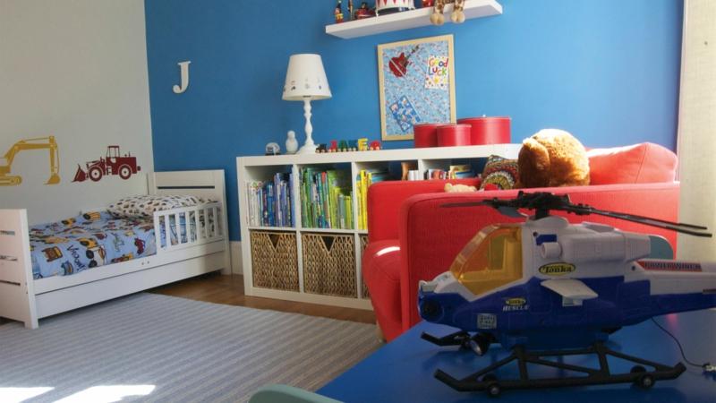 Kinderzimmer Junge Kindermöbel Bett Wandfarbe Blau