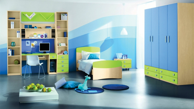 Kinderzimmer Junge Kindermöbel Blau Grün