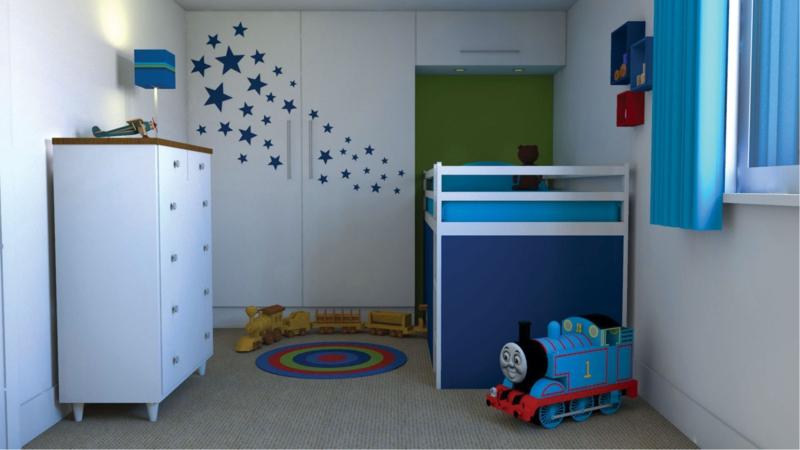 Kinderzimmer Junge Kindermöbel Hochbett blaue Wandfarbe