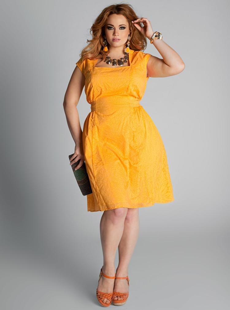 Kleid große Größen gelb Abendkleider