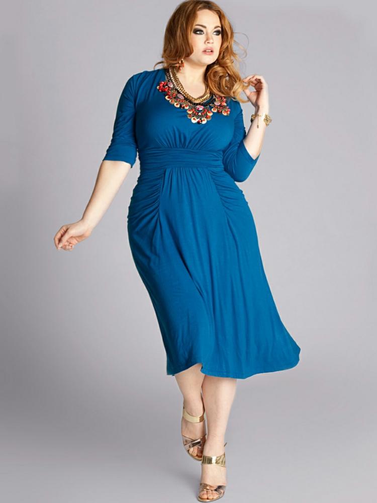 Kleider in großen Größen Damenkleid blau