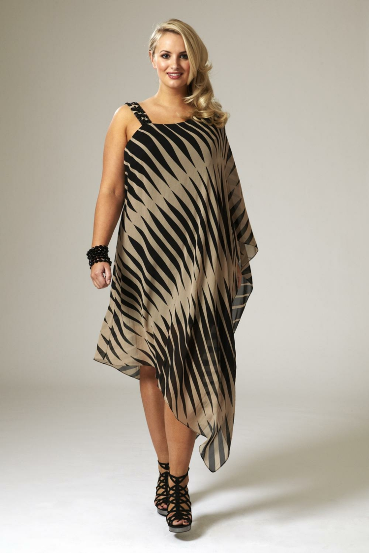 Kleider in großen Größen asymmetrisches Kleid mit Muster