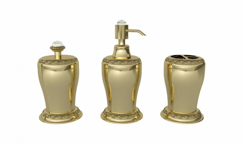 Luxus Badaccessoires Gold Seifenspender Badezimmer einrichten
