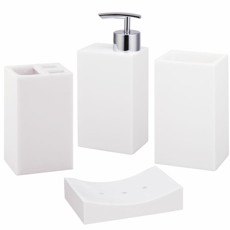 Luxus Badaccessoires komplett weiß Badezimmer einrichten