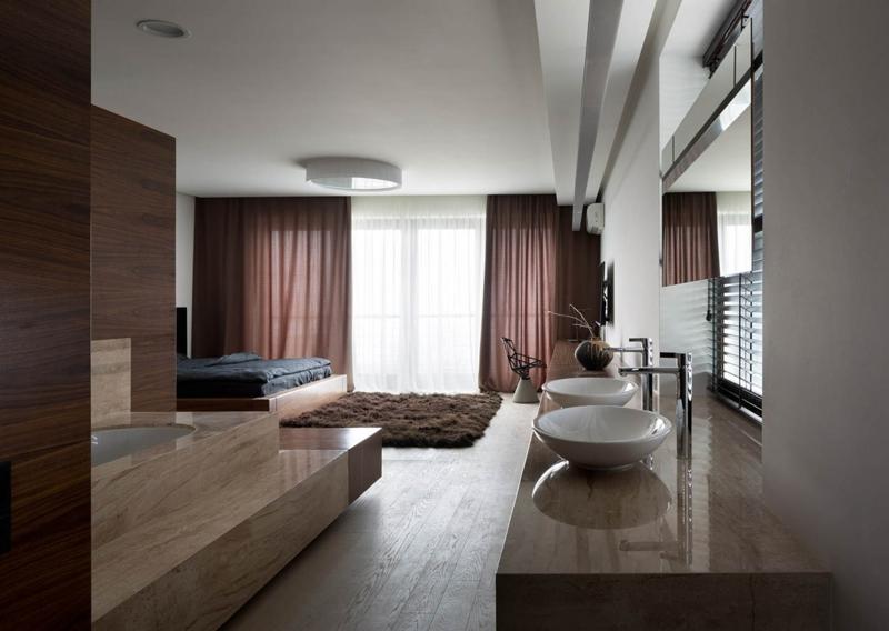 Shore House NOTT Design Studio Wohnungsgestaltung Luxus Schlafzimmer mit Badewanne