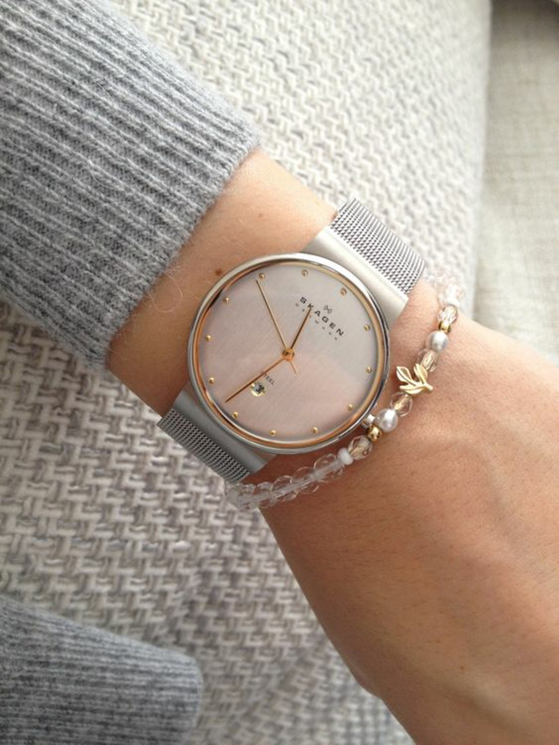 Skagen Damenuhr Leder Armbanduhr Damen grau