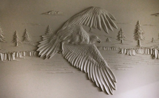 Trockenbauer-Bernie-Mitchell-3D-Wanddeko-Ideen-Trockenbauwand-Adler